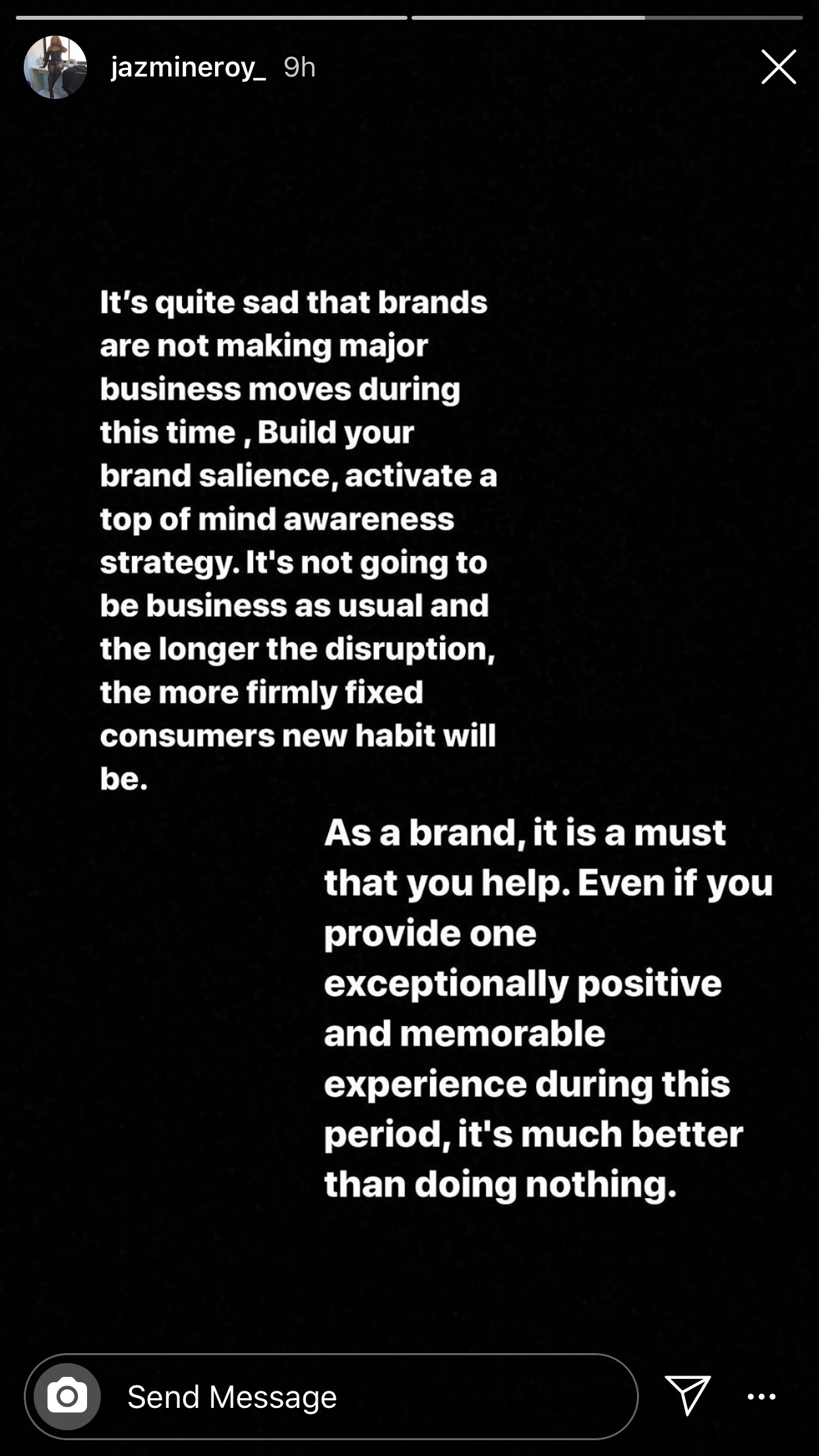 A screenshot from @jazmineroy_'s instagram story telling brands to create more and impact lives during this corona times.