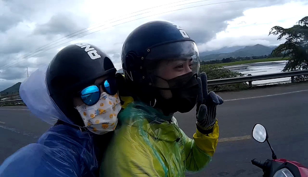 Me and my wife on a motorcycle