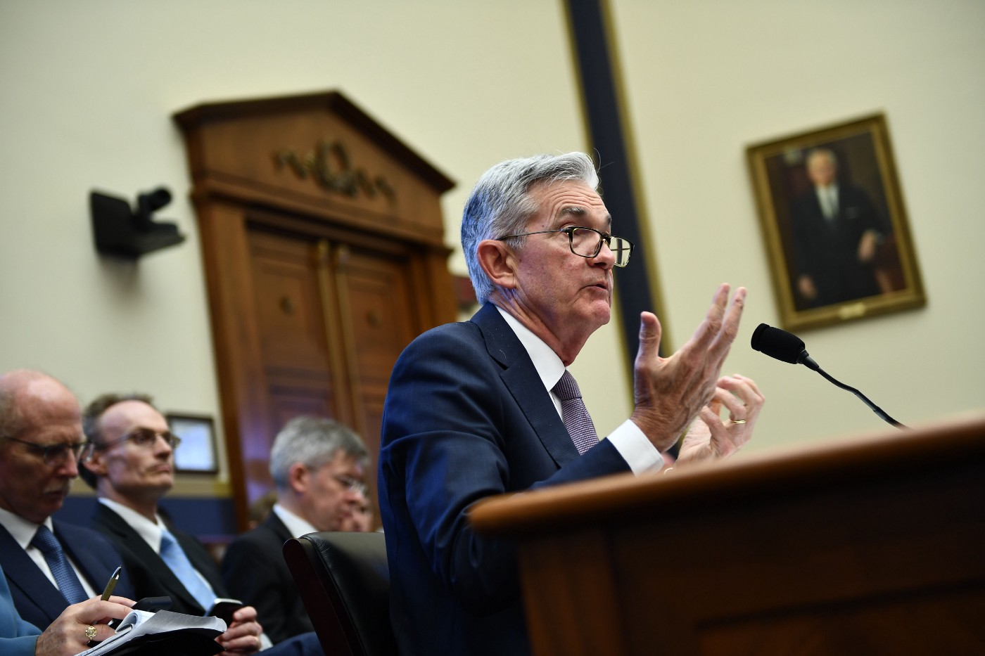Federal Reserve Board Chairman Jerome Powell testifies during a full committee hearing on July 10, 2019 in Washington, DC.