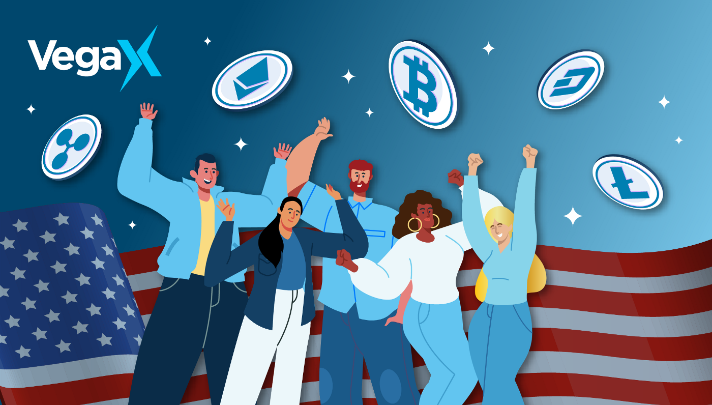 Image of crypto traders with an American flag behind them.
