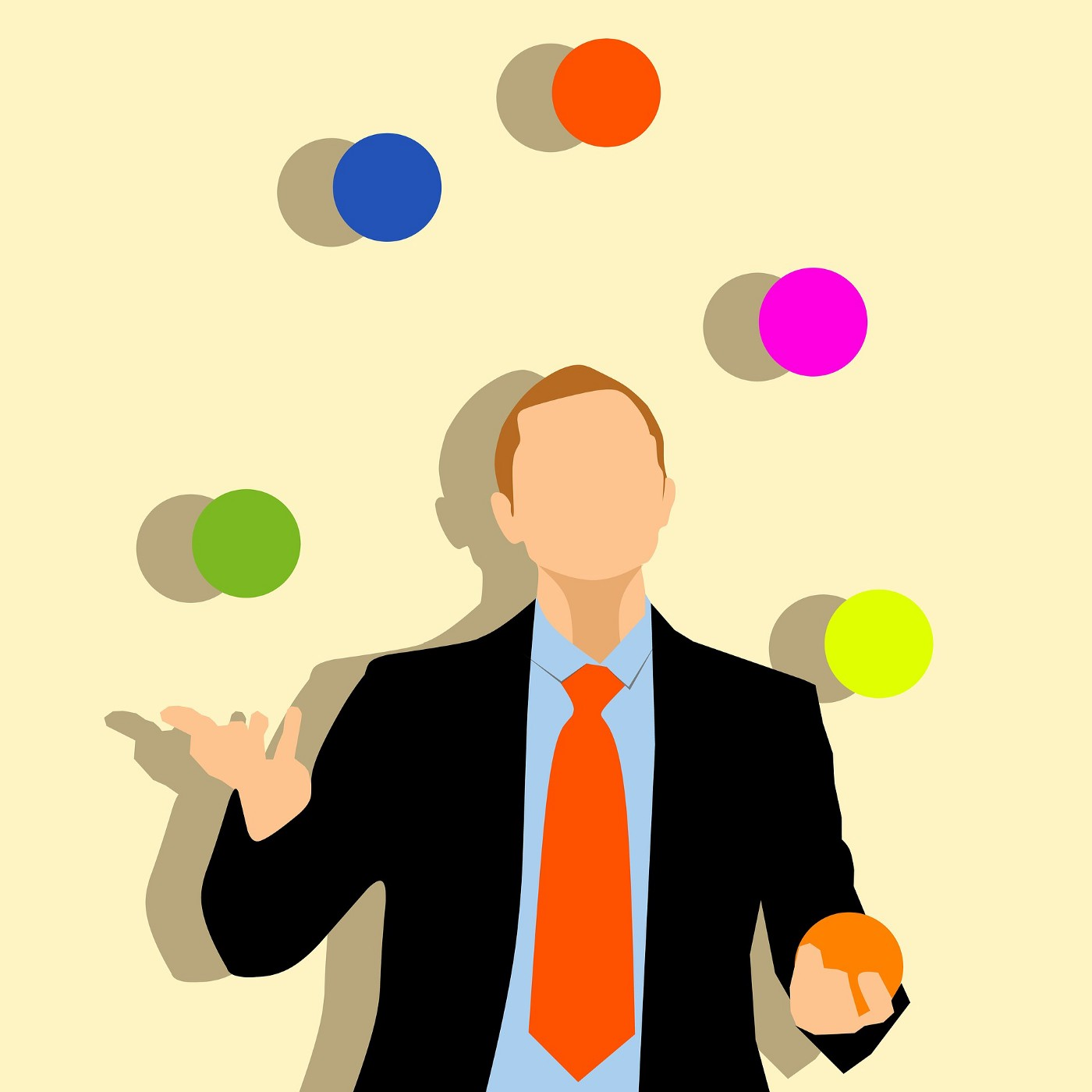 A drawing of a faceless man in a suit juggling four colourful balls in front of a yellow background.