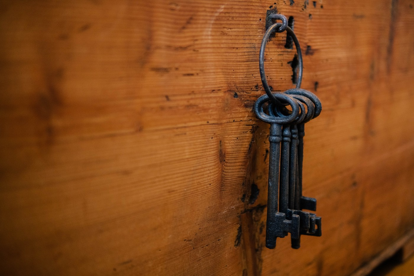 keys hanging on a hook on a wooden wall