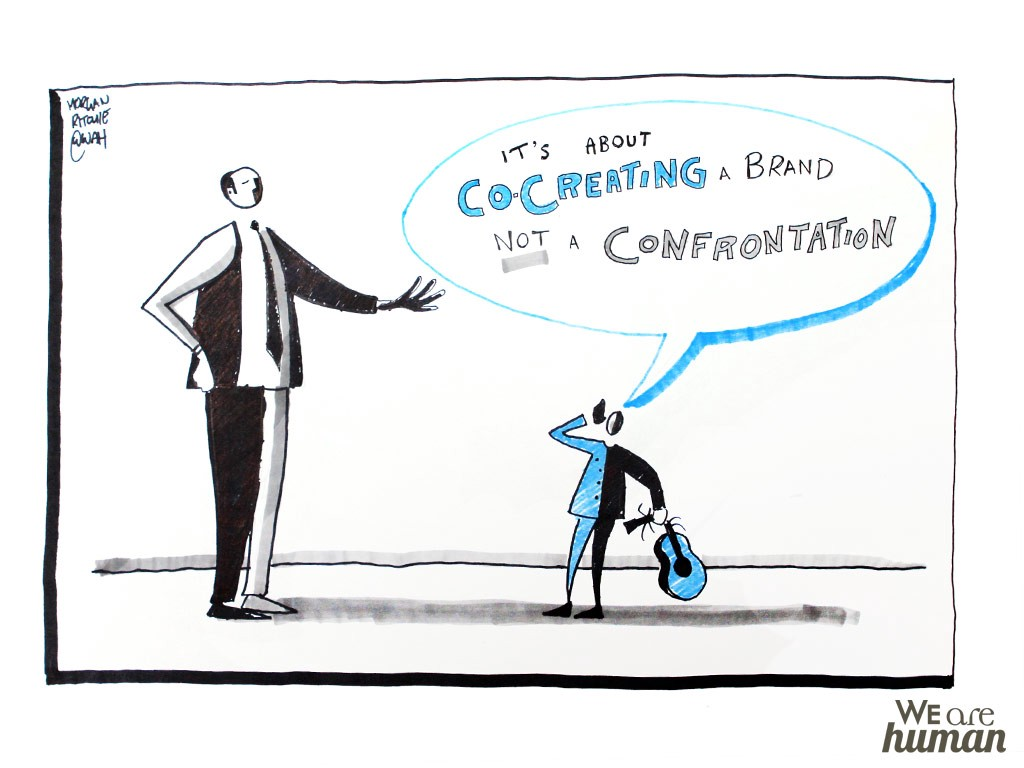 "An illustration saying, ""It's about co-creating a brand not a confrontation."""