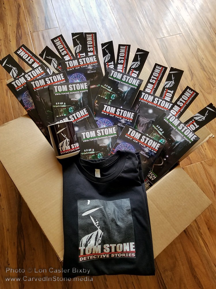 Tom Stone novels and book marks.