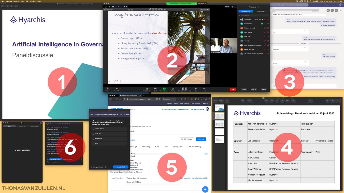 Screenshot of a computer desktop, with a numbered set of application windows to illustrate the facilitator's POV of a webinar