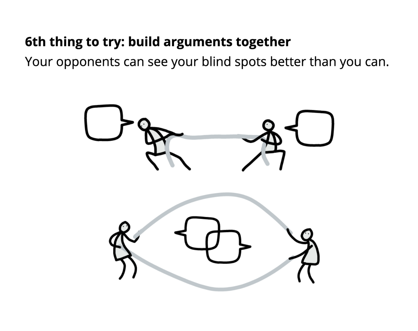 6th thing to try: build arguments together