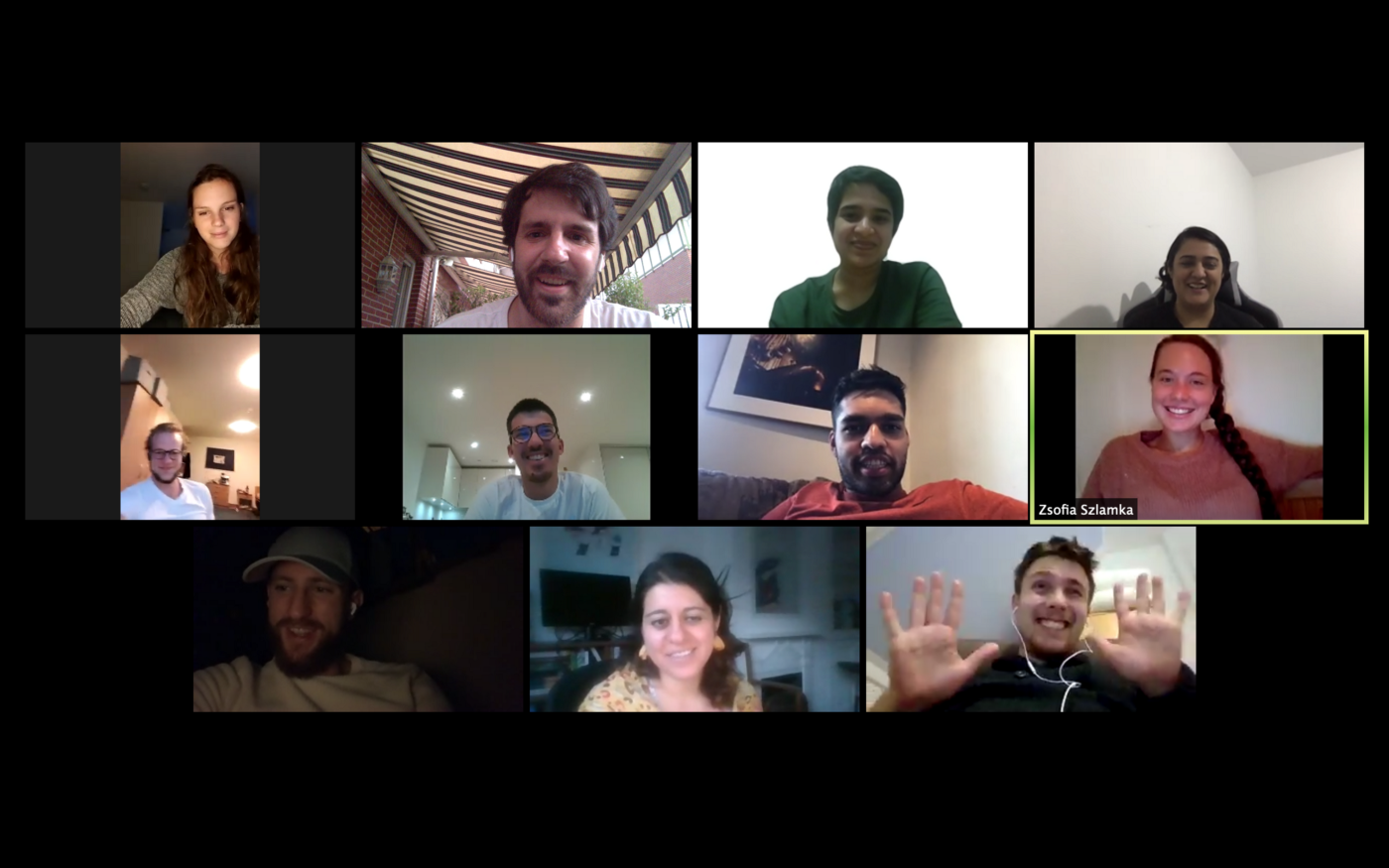Some of the Cambridge Hub members during our virtual monthly meeting.