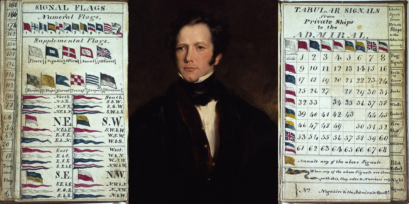 Image of a portrait of Captain Frederick Marryat by John Philip Simpson 1826 with a A Code of Signals (Flags) for the Merchant Service either side of his portrait.