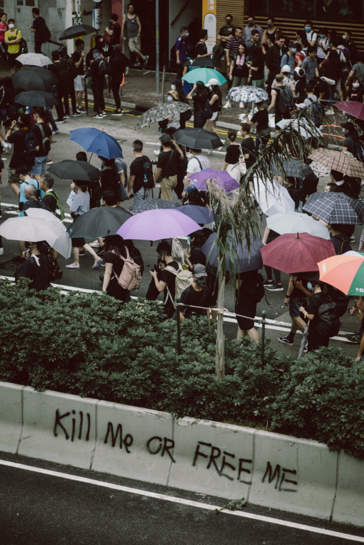 People protesting in Hong Kong.