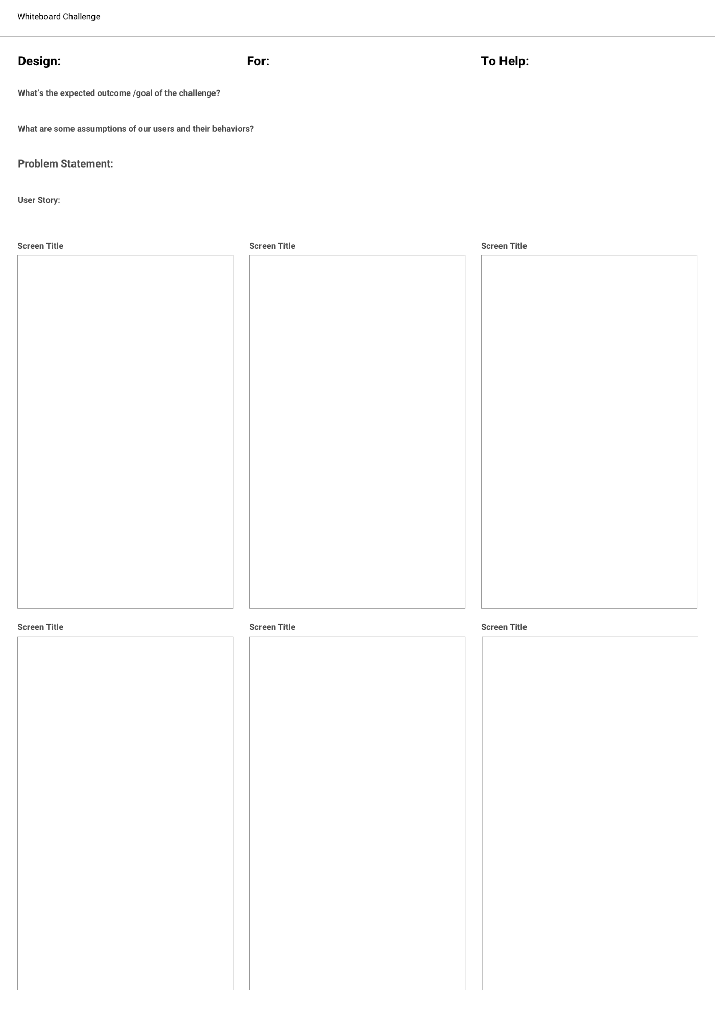 A template for online whiteboard challenges.