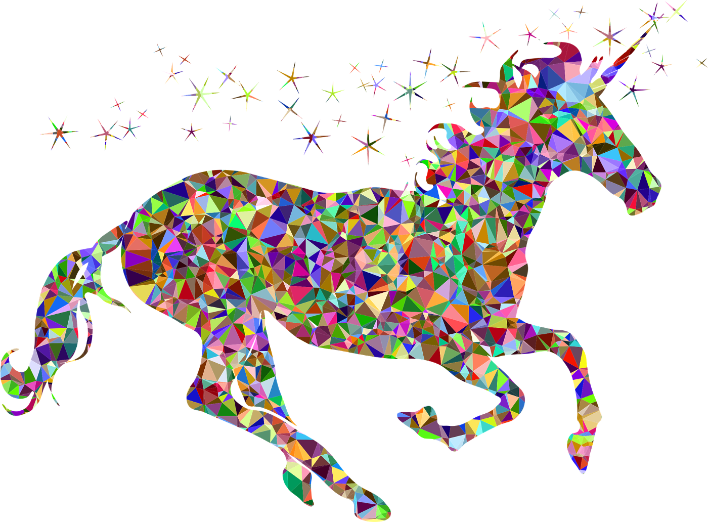 Side view of a galluping rainbow-colored unicorn with rainbow-colored stars flying off of him