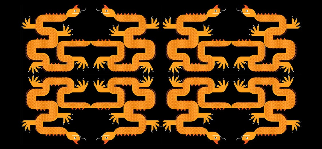 A dragon motif, in bright orange on a black background, is applied to a repeat grid. Mirroring and flipping of the original unit on the upper left are activated, thus creating a lovely pattern that is almost abstract.