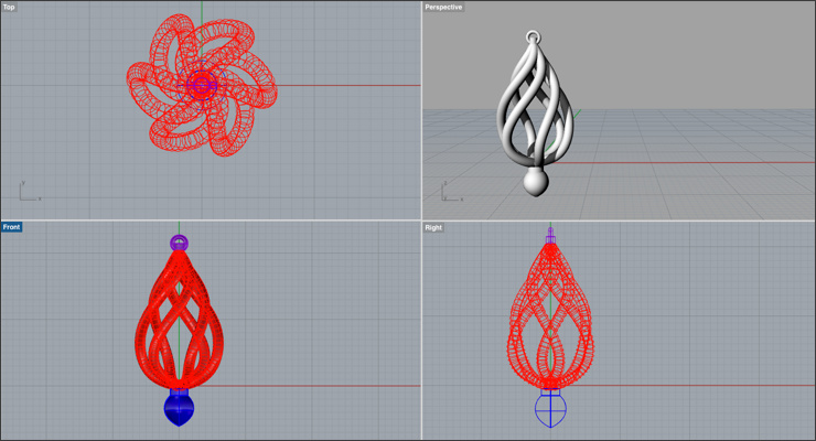 Create a Spiral Earring in Rhino 3D - Drawing Post