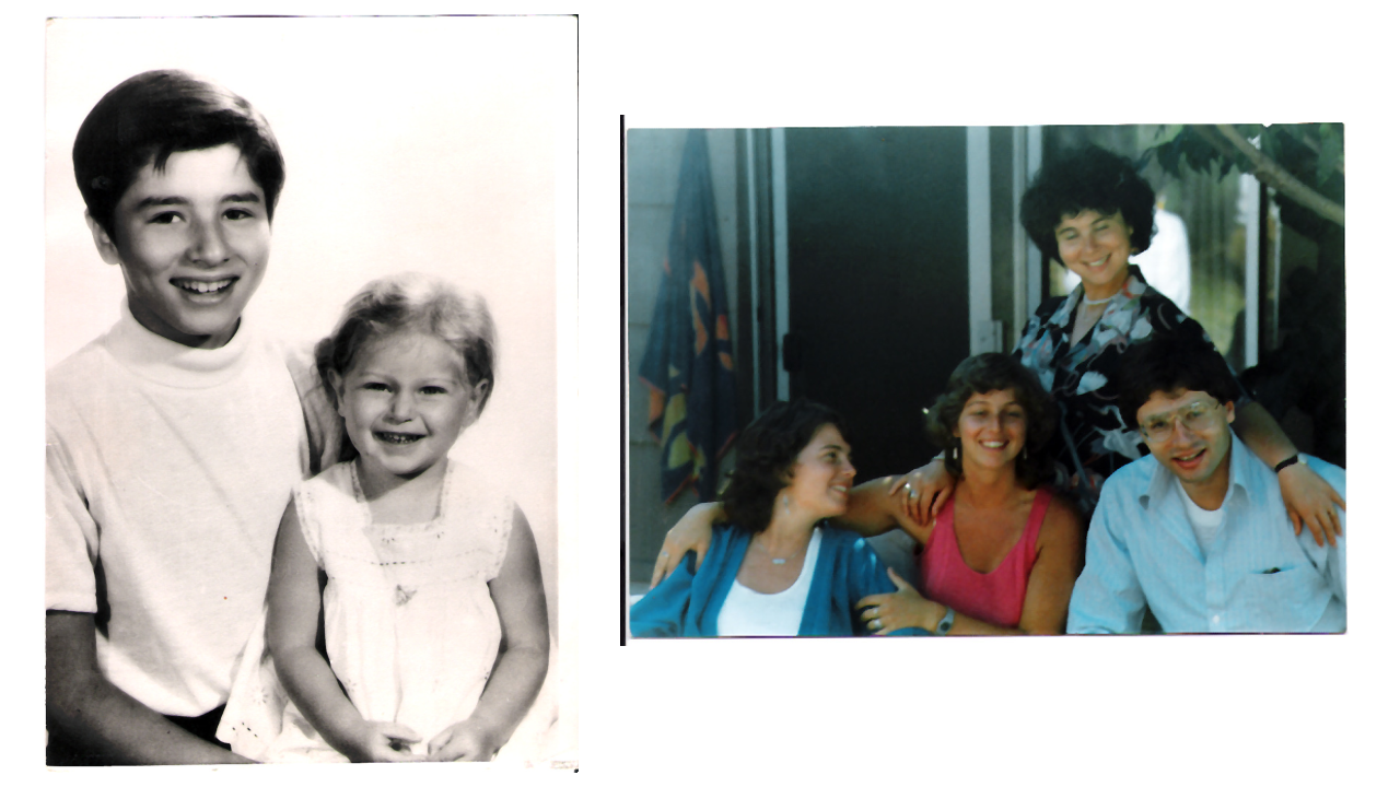 Two vintage photographs of my dad and his sisters