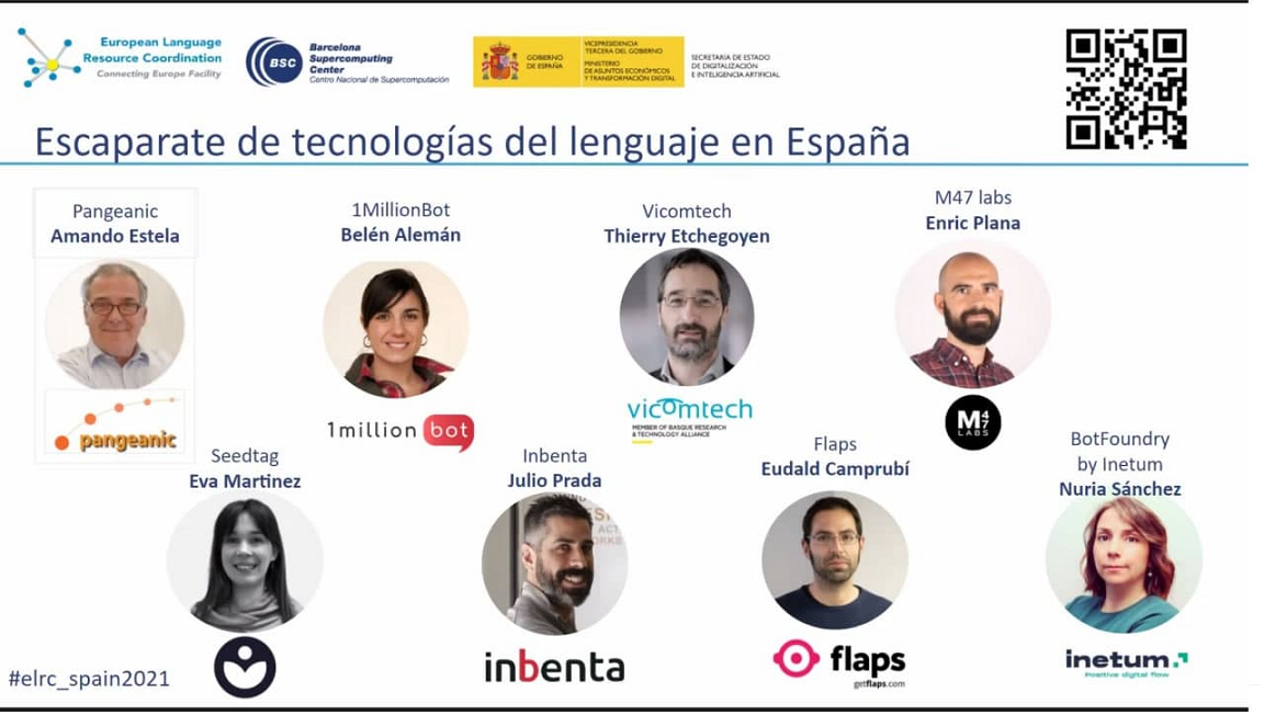 Companies presenting solutions at ELRC_Spain2021 with Amando Estela from Pangeanic first
