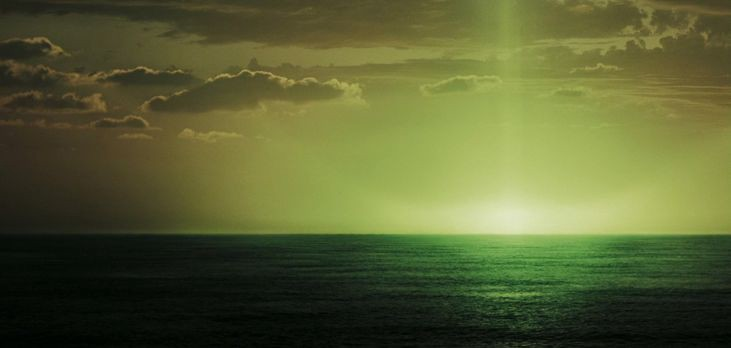 Green flash of light from the Pirates of the Caribbean movie.