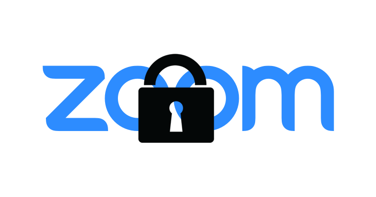The Zoom logo with a padlock over it