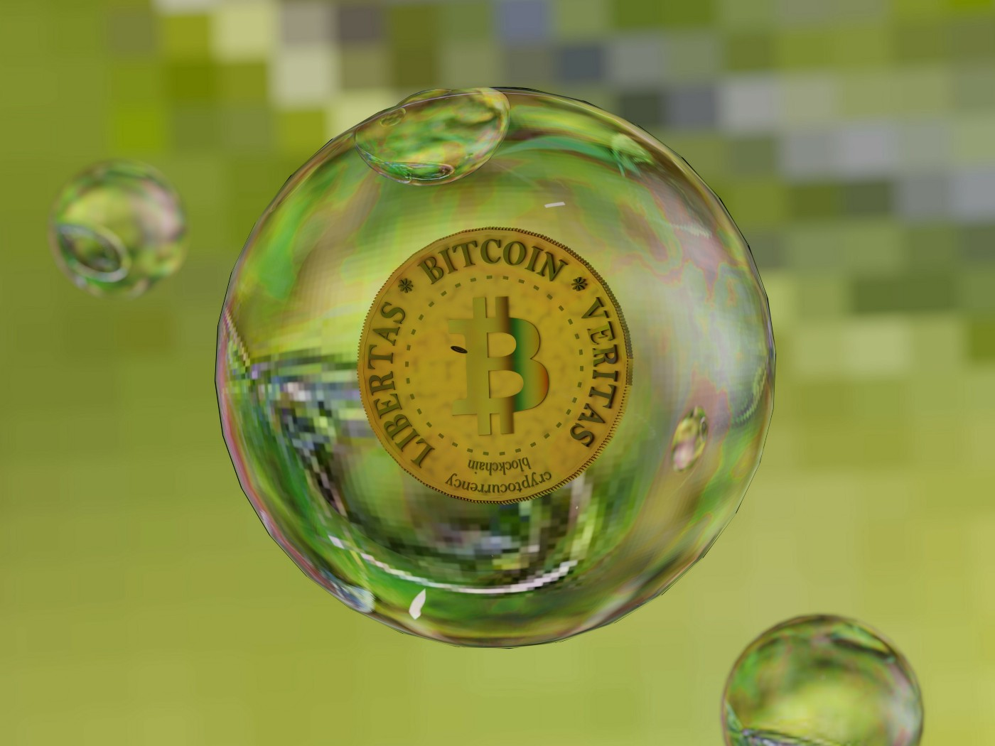 Cryptocurrency bitcoin in a bubble