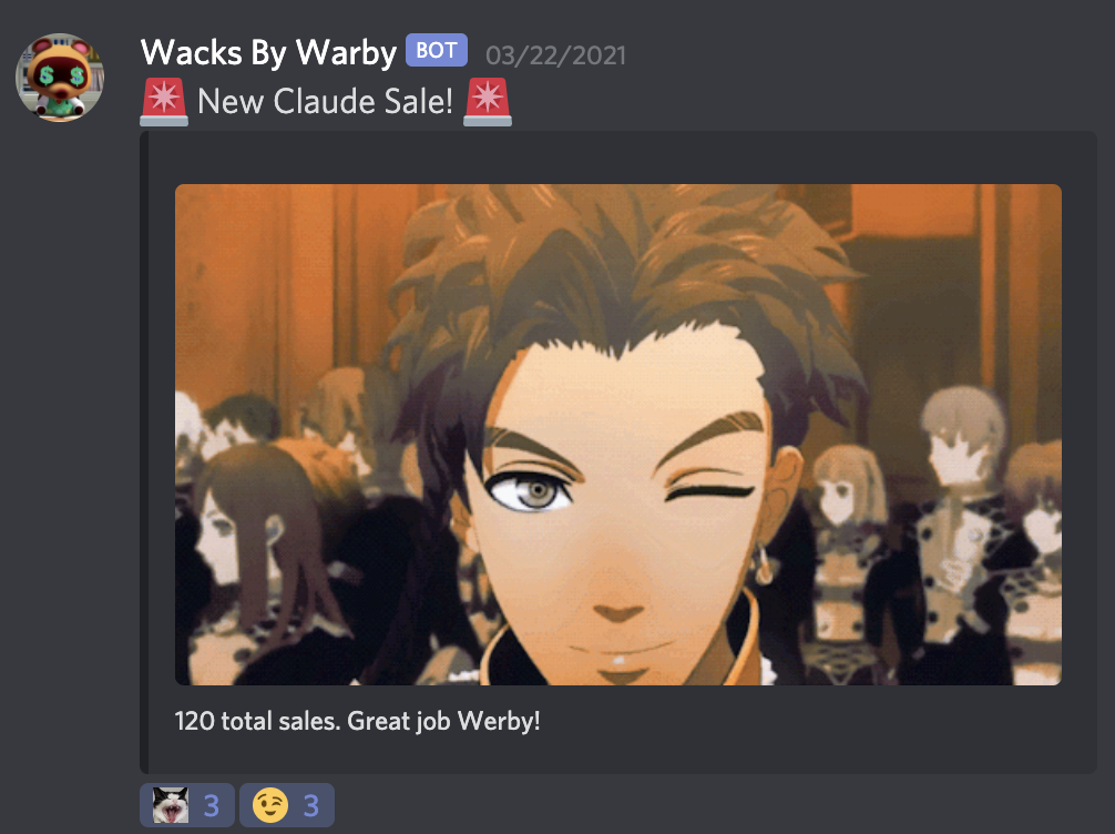 Discord bot sending an alert for a new sale with a gif of Claude from the Fire Emblem franchise