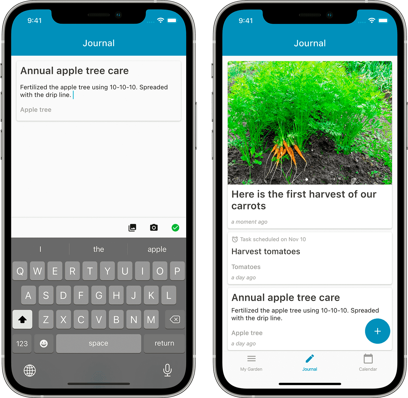 The journal screen of Leafarise mobile app for gardeners