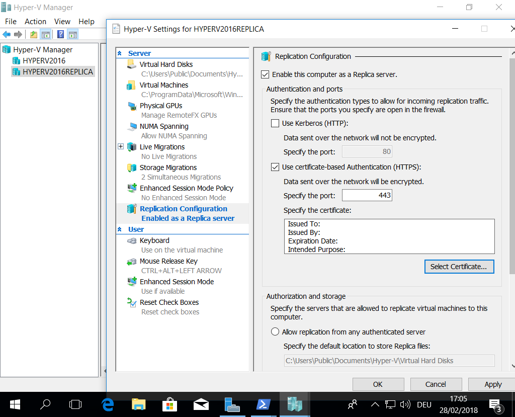 Setup 2 Hyper-V 2016 Servers, enable Hyper-V Replica with self