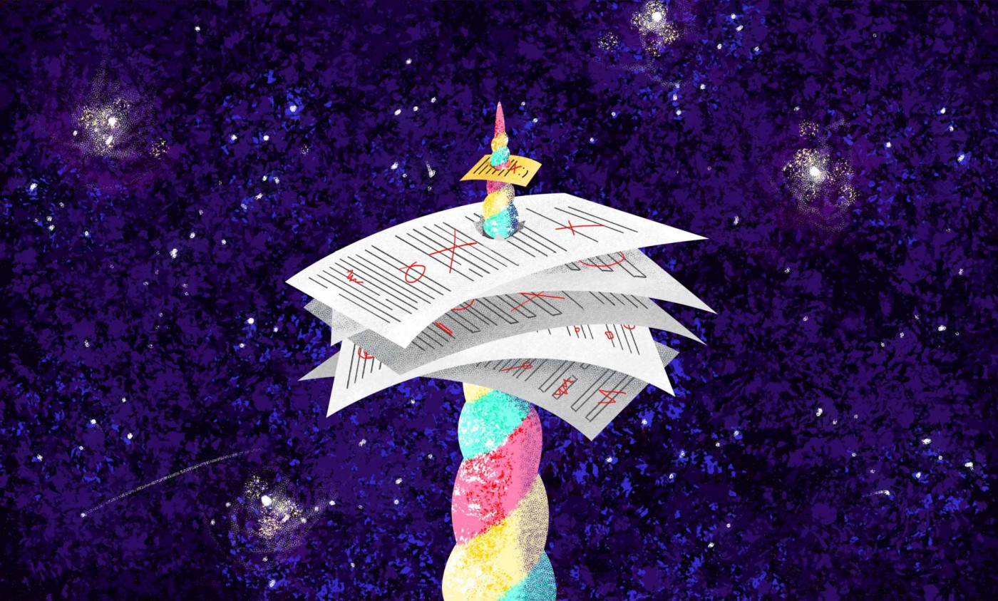 A multicolored unicorn horn stabbing upward to pierce through multiple sheets of paper in front of a starry, purple background.