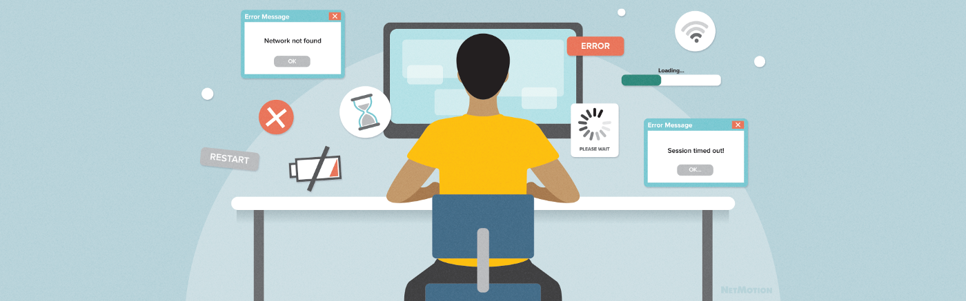 A remote worker sitting at his csurrounded by representations of various web applications he uses to carry out his tasks.