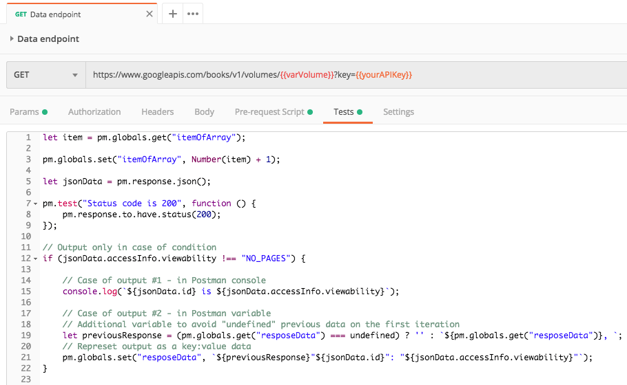 Tests tab: «responseData» variable will create automatically