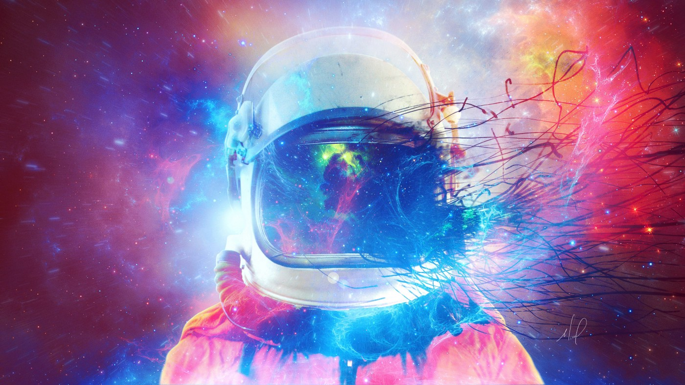 Space hitchhiker with a colourful nebulous effect around their helment.