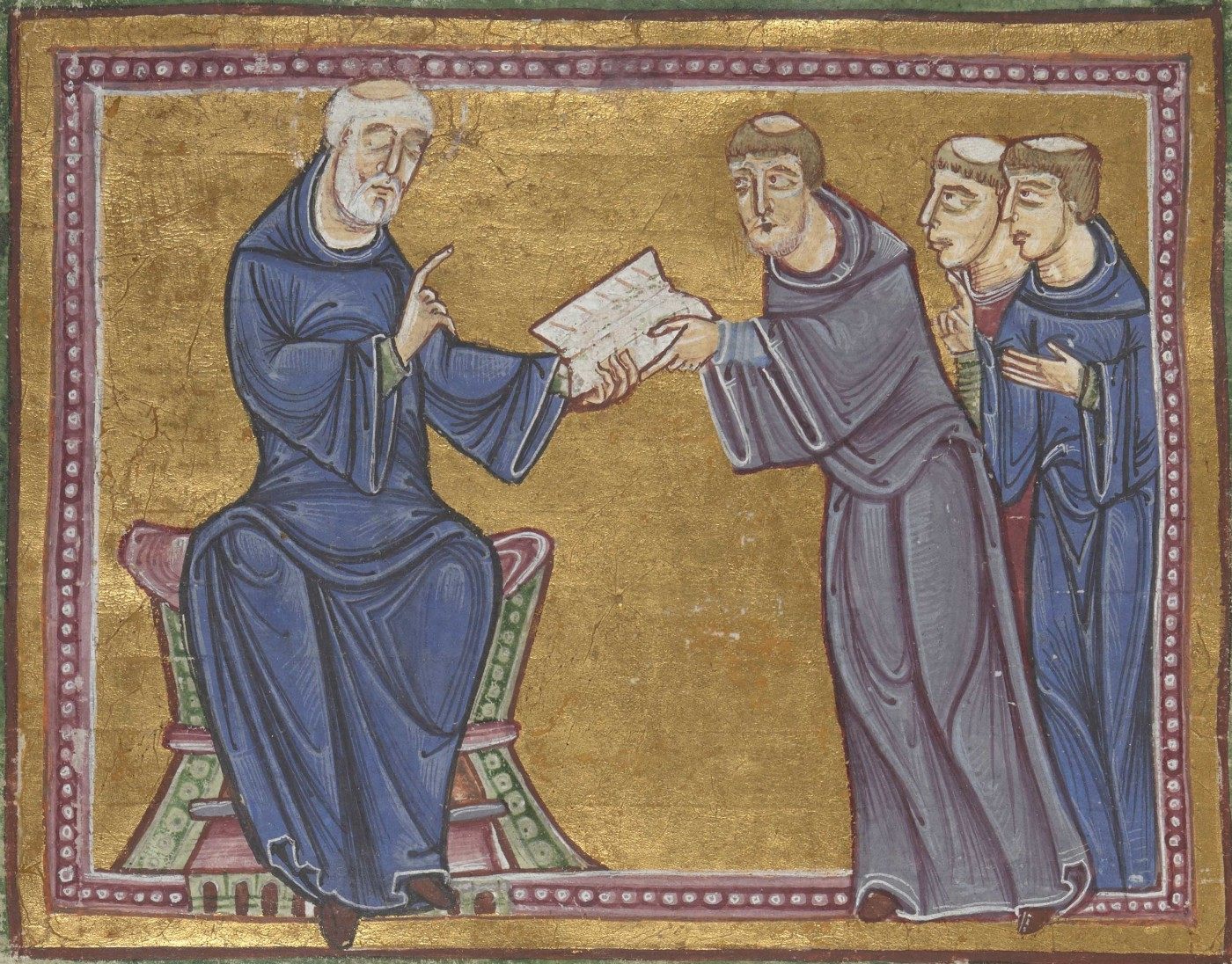 """Painting of St. Benedict, seated, wearing black robe, handing copy of his monastic """"Rule"""" to three standing monks."""