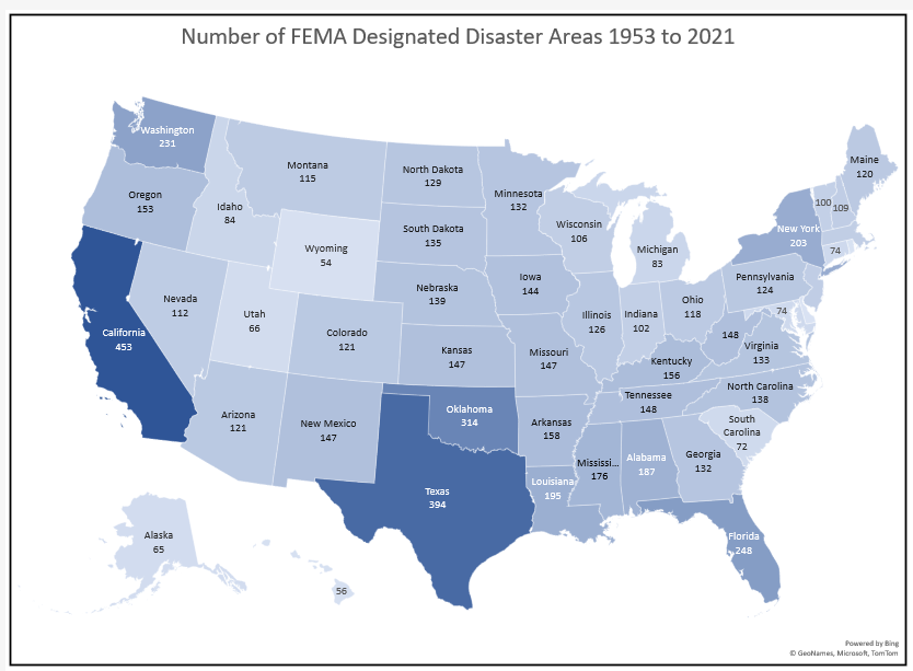 Map of the number of FEMA disaster area declarations 1953–2021