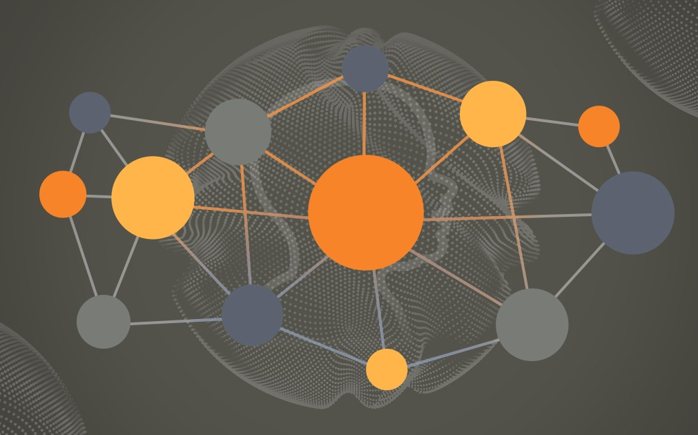 This image is an abstract representation of Custom Language Models, or CLMs. In the background in a silhouette of a child's face. It is overlaid with a network of yellow, blue, orange, and grey circles.