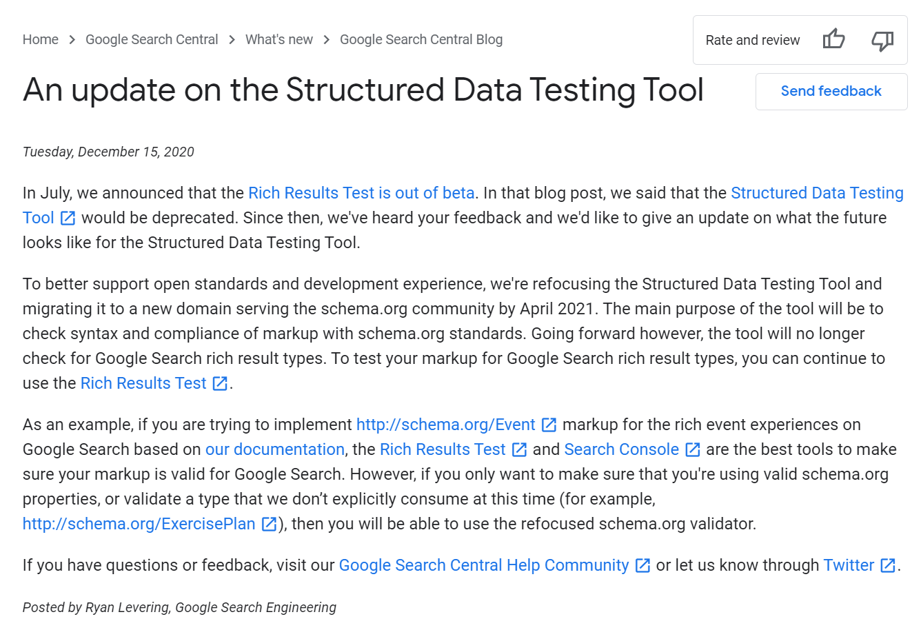 Google announcing updates of their Rich Results Test following feedback from the SEO community onthe deprecation of the SDTT