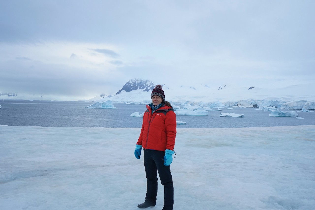 This is the author Samantha Hodder in Antarctica, where she went to record material for the second season of her podcast, This is Our Time