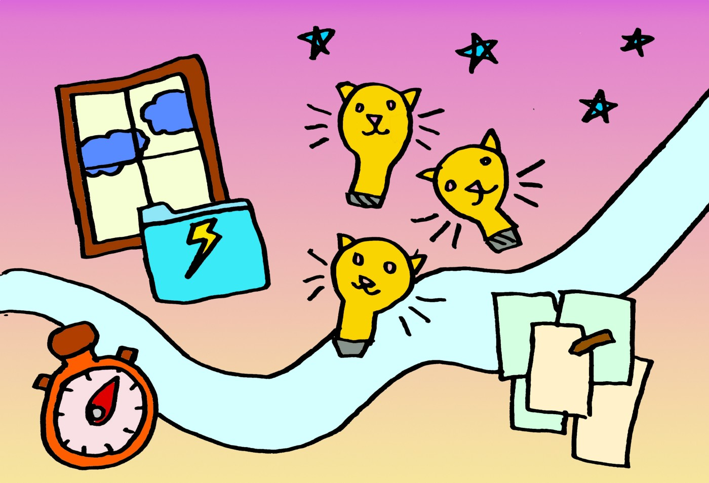 An illustration of a window, file folder with a lightning bolt, cat light bulbs, stars, paper and pen, and timer all floating