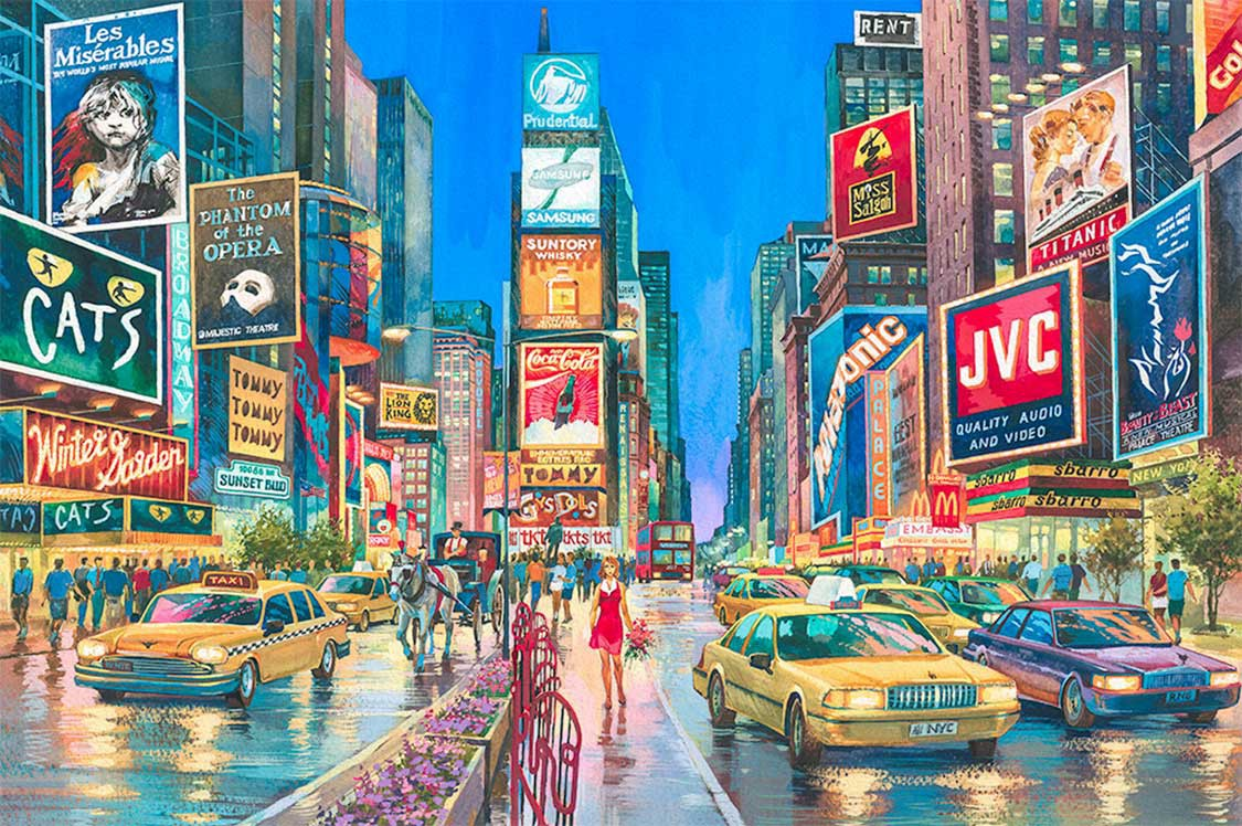 Times Square Watercolor Painting by Roustam Nour