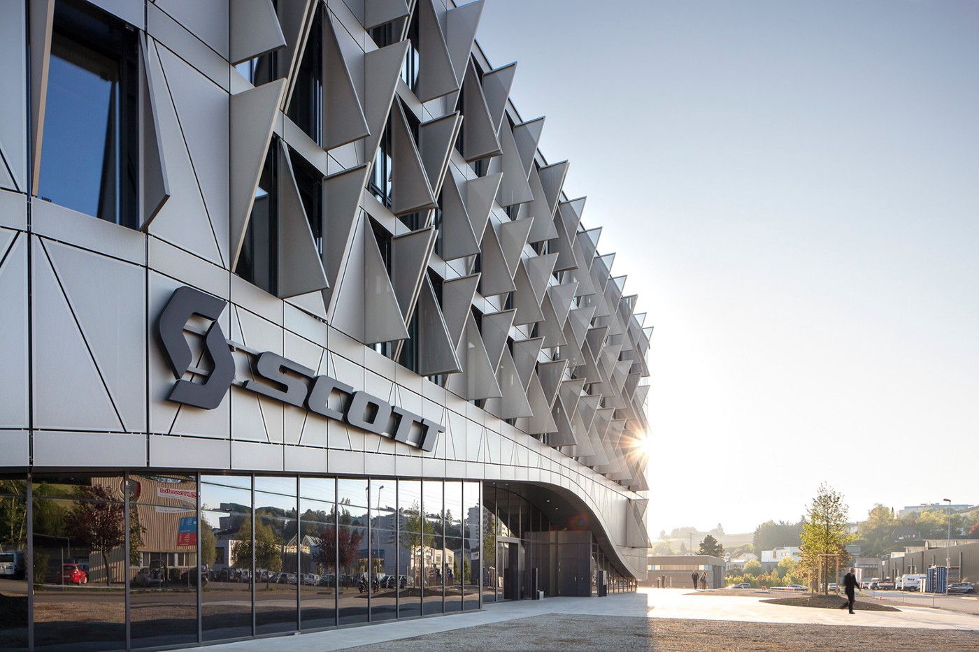 Scott Sports HQ building with metal solar shades on the exterior