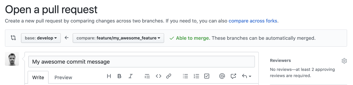 Pull Request from GitHub web interface