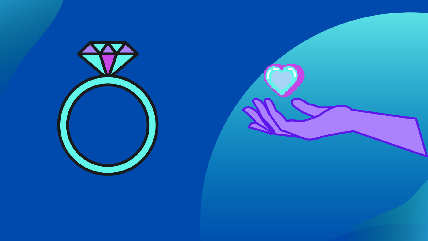 Vaporwave style graphics on blue gradient background with a simple diamond ring on the left and purple hand holding heart