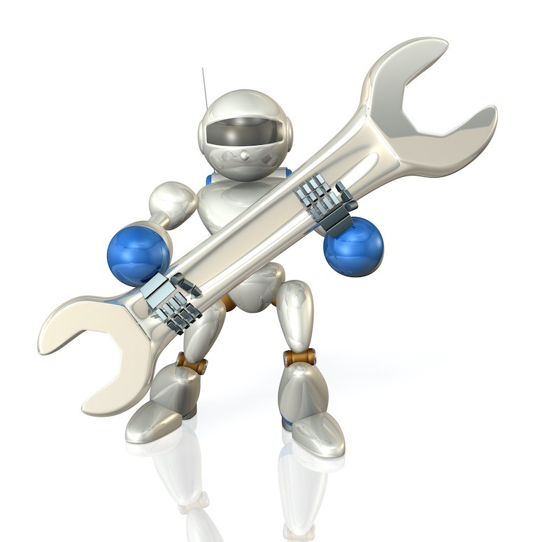 Android holding an oversized wrench