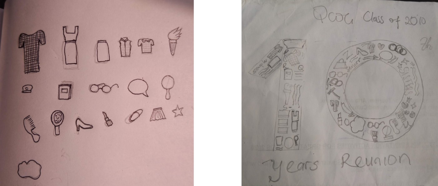 Sketches of elements unique to the students of the school, symbols of the school itself and feminine items.