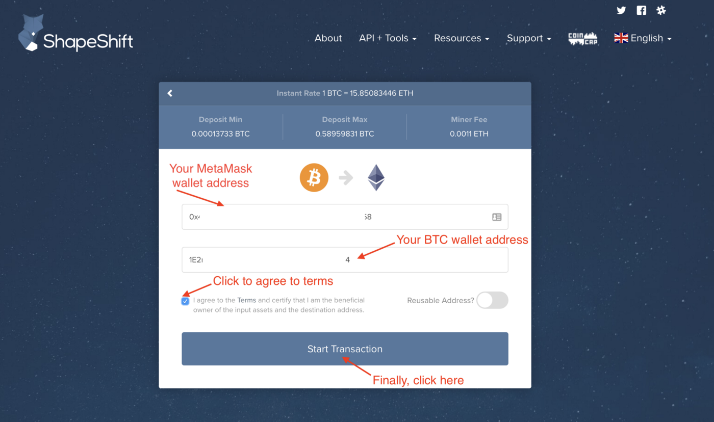 How to exchange Bitcoin and tokens for ETH (Ether) with ShapeShift io