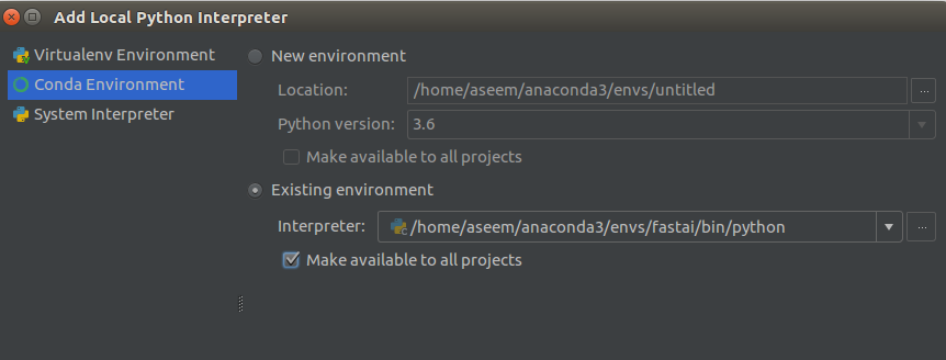 How to setup PyCharm with an anaconda virtual environment already