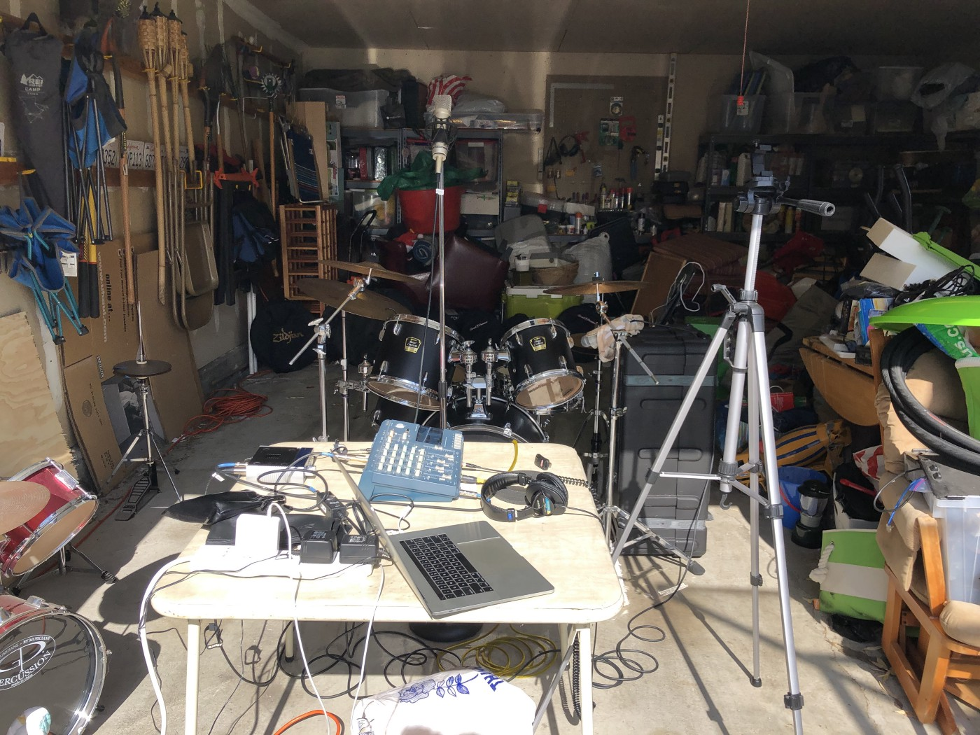 Drums and recording equipment.