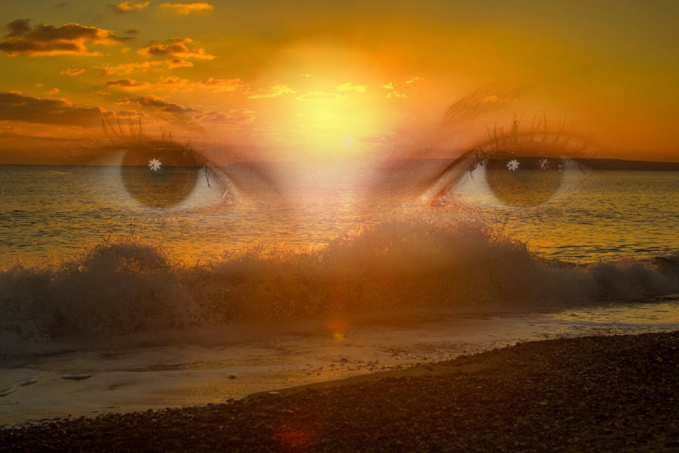 Awareness or presence: Staring eyes superimposed over ocean waves