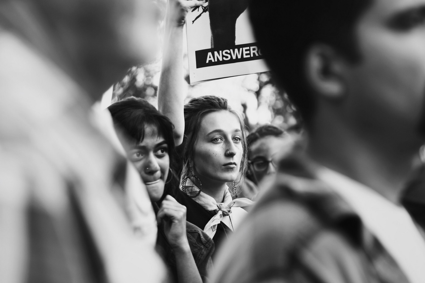 Anti-racist white student at protest against hate speech at the University of a Southern California. Photo Credit: @hfdavis