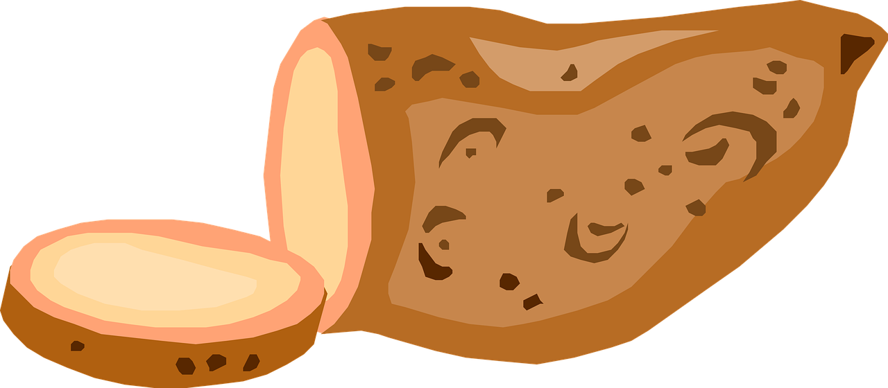 Cartoon of a sweet potato being sliced into medallions
