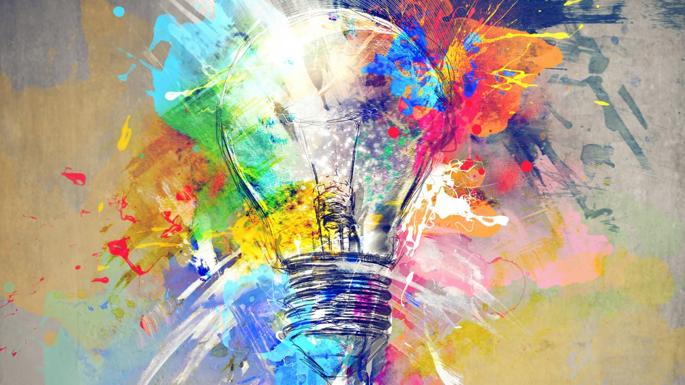 A painting of a lightbulb with lots of colours coming of it