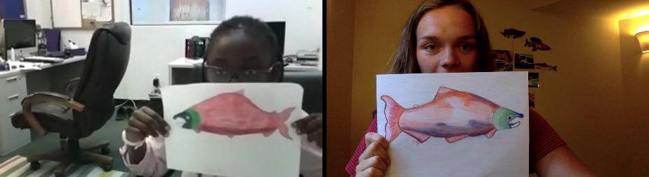 two people share a drawing of a fish over zoom