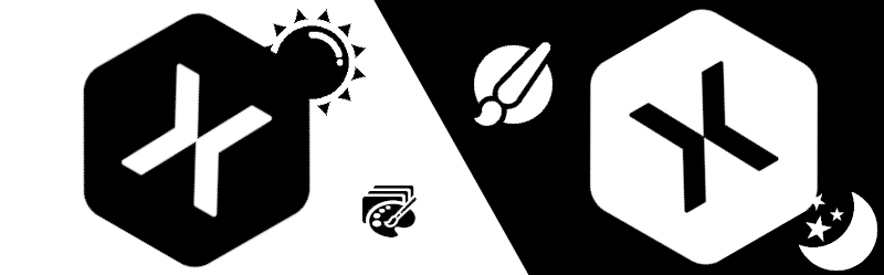 light and dark Xamarin logo with sun and moon images